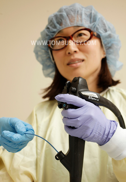 Dr. Rosa Cirillo demonstrates the procedure for an upper endoscopy at Crystal Run Healthcare in the Town of Wallkill on Tuesday, May 24, 2011. She is using a gastroscope that contains lights and a camera that provides video she can see on a monitor.