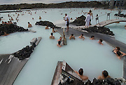 People bathing in the  hot springs, of the Blue Lagoon. Iceland.