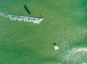 Aerial photograph of kitesurfing off Happy Valley, Pumicestone Passage, Caloundra, Sunshine Coast, Queensland, Australia