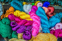 colorful silk yarns at Jim Thompson House museum Bangkok Thailand