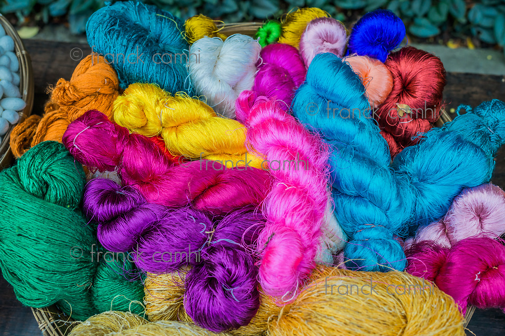 colorful silk yarns at Jim Thompson House museum Bangkok Thailand