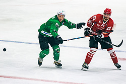 Jaka Ankerst of HDD Jesenice vs RAJSAR Sašo of HDD Olimpija during 500th derbi between HK SZ Olimpija Ljubljana vs HDD SIJ Acroni Jesenice  - AHL 2019/20, on the 26th of  Oktober, Ljubljana, Slovenia. Photo by Matic Ritonja / Sportida