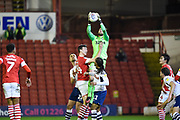 Declan Rudd (1) of Preston North End FC with a save during the EFL Sky Bet Championship match between Barnsley and Preston North End at Oakwell, Barnsley, England on 21 January 2020.