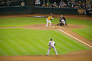 Oakland Athletics left fielder Coco Crisp (4) watches a pitch go by against the Baltimore Orioles at Oakland Coliseum in Oakland, Calif. on August 8, 2016. (Stan Olszewski/Special to S.F. Examiner)