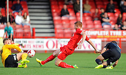 Peterborough United's Ben Alnwick saves from Crawley's Matt Harrold - photo mandatory by-line David Purday JMP- Tel: Mobile 07966 386802 - 11/10/14 - Crawley Town v Peterbourgh United - SPORT - FOOTBALL - Sky Bet Leauge 1  - London - Checkatrade.com Stadium
