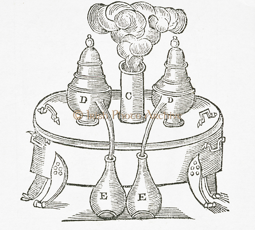 'Distillation using bain-marie (water bath) and alembics. From ''The Art of Distillation', London, 1667. by John French'