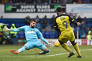 Burton Albion striker Darren Bent (9) has a shot saved by Ipswich Town goalkeeper Bartosz Bialkowski (33) during the EFL Sky Bet Championship match between Ipswich Town and Burton Albion at Portman Road, Ipswich, England on 10 February 2018. Picture by Richard Holmes.