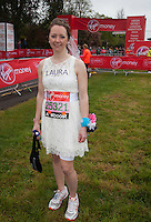 Laura Harvey who was marrying her fiancé at the halfway point of the race - photographed at the start of the Virgin Money London Marathon 2015, Sunday 26th April 2015<br /> <br /> Roger Allen for Virgin Money London Marathon<br /> <br /> For more information please contact Penny Dain at pennyd@london-marathon.co.uk