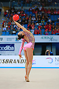 Rizatdinova Anna during final at ball in Pesaro World Cup at Adriatic Arena on April 12, 2015. Anna was born July 16, 1993 in Simferopol, she is a Ukrainian individual rhythmic gymnast.