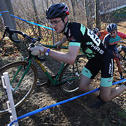 Competitors in action as they climb a hill in the Men's Open race during the The 3rd Annual Newtown Cyclocross Race in the Fairfield Hills and the Town's Municipal Center. Newtown, Connecticut, USA. 15th November 2015. Photo Tim Clayton