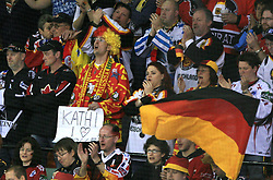 "Fan of Germany with sign ""Kathi, I love you"" at ice-hockey match Finland vs Germany (they played in replika jerseys like they were in year 1932) at Preliminary Round (group C) of IIHF WC 2008 in Halifax, on May 03, 2008 in Metro Center, Halifax, Canada. (Photo by Vid Ponikvar / Sportal Images)Won of Finland 5:1."