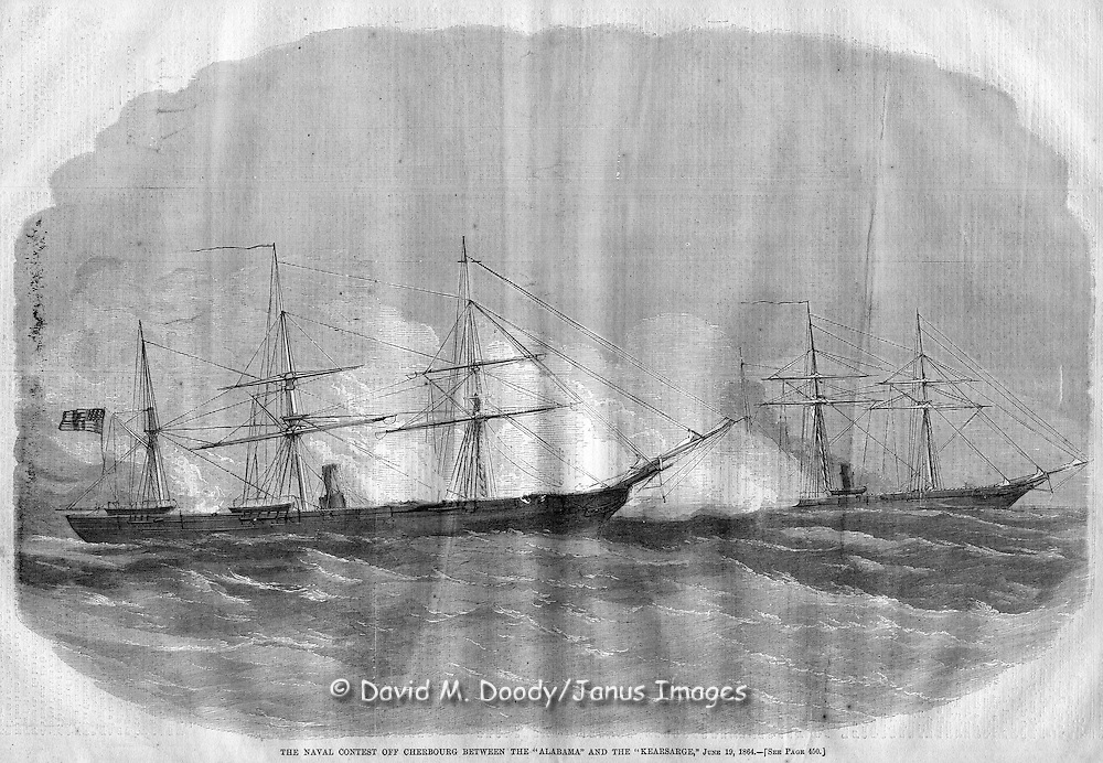 Civil War Naval battle between the Confederate raider Alabama and USS Kearsarge off France from Harper's Weekly 1864