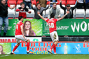 Charlton Athletic defender, Jorge Teixeira (50) celebrating with Charlton fans after scoring to make it 2-1 during the Sky Bet Championship match between Charlton Athletic and Birmingham City at The Valley, London, England on 2 April 2016. Photo by Matthew Redman.