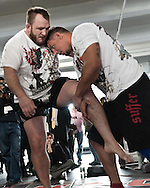 "NEW YORK, NEW YORK, MARCH 25, 2010: Frank Mir (right) is pictured during the media open work-out sessions for ""UFC 111: St. Pierre vs. Hardy"" at Peak Performance Strength and Conditioning Center in Manhattan on March 25, 2010."