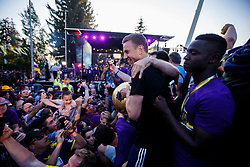 Ales Mertl and Sintay Ehusallalich of NK Maribor celebrate with fans after NK Maribor became Slovenian National Champion 2017 after football  match between NK Maribor and NK Krskor in Round #36 of Prva liga Telekom Slovenije 2016/17, on May 27th, 2017 in Ljudski Vrt, Maribor, Slovenia. Photo by Grega Valancic / Sportida
