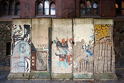 Section of original Berlin Wall outside Markisches Museum in central Berlin Germany