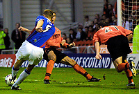 Dundee Utd v Rangers 22.9.01: Tore Andre Flo scores his third goal of the game.<br />