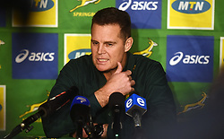 Cape Town-180618 New Springbok coach Rassie Erusmus addressing the media at the Springbok Expecience ahead of their last test game against England at Newlands Stadium on Saturday.photograph:Phando Jikelo/African News Agency/ANA