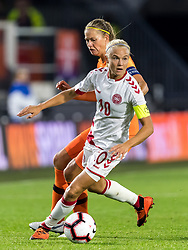 (L-R) Anouk Dekker of the Netherlands women, Pernille Harder of Denmark women during the FIFA Women's World Cup 2019 play off first leg qualifying match between The Netherlands and Denmark at the Rat Verlegh stadium on October 05, 2018 in Breda, The Netherlands