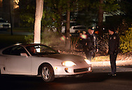 DOYLESTOWN, PA - DECEMBER 15: Police block Burpee Road at Route 202 while searching for suspect Bradley William Stone, the suspect in the shooting deaths of 6 people in Montgomery County December 15, 2014 in Doylestown, Pennsylvania. (Photo by William Thomas Cain/Cain Images)