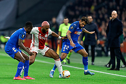 Ryan Babel #49 of Ajax and Damián Suárez #22 of Getafe, Dakonam Djene #2 of Getafe in action during the Europa League match R32 second leg between Ajax and Getafe at Johan Cruyff Arena on February 27, 2020 in Amsterdam, Netherlands