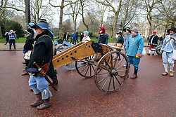 © Licensed to London News Pictures. 27/01/2019. London, UK. Members of the English Civil War Society reenactor the commemoration of the execution of Charles I, who was taken by the King's Army from St James Palace to the Banqueting House in Whitehall, for his execution on 30th January 1649. Photo credit: Dinendra Haria/LNP