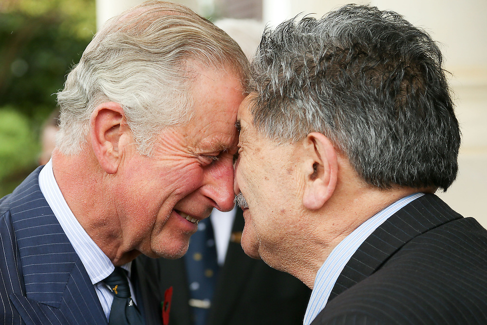 Prince Charles, Prince of Wales, is welcomed with a hongi from Government House Kaumatua, Mr Lewis Moeau, during a welcome ceremony at Government House,  Wellington, New Zealand, Wednesday, November 04, 2015. Credit:SNPA / Getty, Hagen Hopkins **POOL**