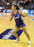 Temepara George in action during round 4 of the ANZ Netball Championship - Queensland Firebirds v Northern Mystics. Played at Brisbane Convention Centre. Firebirds (46) defeated the Mystics (40).  Photo: Warren Keir (SMP/Photosport).<br /> <br /> Use information: This image is intended for Editorial use only (e.g. news or commentary, print or electronic). Any commercial or promotional use requires additional clearance.