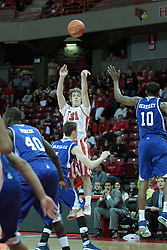 01 February 2014:  Matt Stacho gets a three point attempt over Blake Danielak during an NCAA Missouri Valley Conference (MVC) mens basketball game between the Drake Bulldogs and the Illinois State Redbirds  in Redbird Arena, Normal IL.