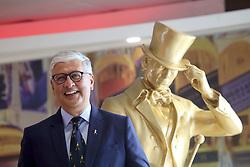 Pictured: Diageo CEO Ivan Menezes<br /> <br /> Diageo CEO Ivan Menezes with the Johnnie Walker striding man at Diageo Scotland HQ, Edinburgh 16042018 pic by Terry Murden @edinburghelitemedia <br /> <br /> Terry Murden   EEm 16 April 2018