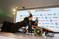 (L to R): Nico Hulkenberg (GER) Sahara Force India F1 and Sergio Perez (MEX) Sahara Force India F1 reveal the 2015 Sahara Force India F1 Team livery.<br /> Sahara Force India F1 Team Livery Reveal, Soumaya Museum, Mexico City, Mexico. Wednesday 21st January 2015.