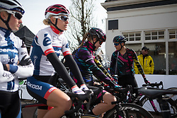Barbara Guarischi (ITA) of CANYON//SRAM Racing chats to her teammates before the start of Stage 1b of the Healthy Ageing Tour - a 77.6 km road race, starting and finishing in Grijpskerk on April 5, 2017, in Groeningen, Netherlands.