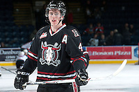 KELOWNA, CANADA -FEBRUARY 5: Haydn Fleury D #4 of the Red Deer Rebels stands on the ice during warm up against the Kelowna Rockets on February 5, 2014 at Prospera Place in Kelowna, British Columbia, Canada.   (Photo by Marissa Baecker/Getty Images)  *** Local Caption *** Haydn Fleury;