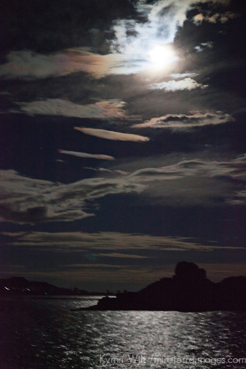 South America, Peru, Laka Titicaca. Super Moon illuminates Lake Titicaca.
