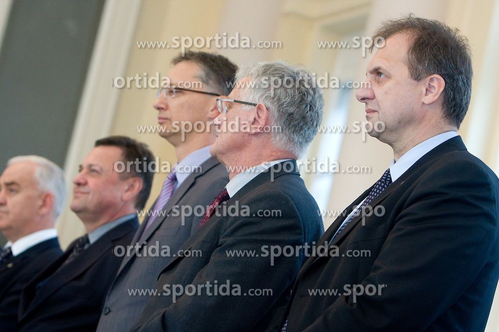 Zoran Jankovic, Igor Luksic, Pavle Gantar and Ivan Simic at Reception of Slovenian National football team at president of Republic of Slovenia dr. Danilo Turk after Slovenia qualified for the FIFA World Cup South Africa 2010, in President's place , Ljubljana, Slovenia.   (Photo by Vid Ponikvar / Sportida)