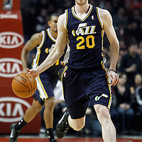 10 March 2012: Utah Jazz shooting guard Gordon Hayward (20) brings the ball up court during the Chicago Bulls 111-97 victory over the Utah Jazz at the United Center, Chicago, Illinois, USA.