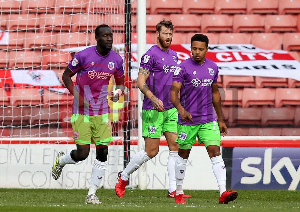 Famara Diedhiou, Nathan Baker and Korey Smith of Bristol City cut dejected figures after conceding a goal - Mandatory by-line: Robbie Stephenson/JMP - 30/03/2018 - FOOTBALL - Oakwell Stadium - Barnsley, England - Barnsley v Bristol City - Sky Bet Championship
