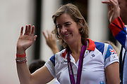 London, 10th September 2012. Gold Medalist rower Kathleed Granger waves to spectators, the day after the end of the London 2012 Paralympics when thousands lined the capital's streets to honour 800 of TeamGB's athletes and Paralympians. Britain's golden generation of athletes in turn said thank you to its Olympic followers, paying tribute to London and a wider Britain as up to a million people lined the streets to celebrate the ?greatest ever? sporting summer and billed to be the biggest sporting celebration ever seen in the UK.