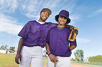 Baseball Teammates Standing on Field
