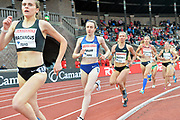 Laura Muir (GBR) wins the women's 1,500m in 4:05.37 during the Bauhaus-Galan in a IAAF Diamond League meet at Stockholm Stadium in Stockholm, Sweden on Thursday, May 30, 2019. From left: Kerry MacAngus (GBR), Muir, Katie Mackey (USA), and Claudia Mihaela Bobocea (ROU). (Jiro Mochizuki/Image of Sport)