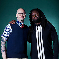 Ryan Gattis (left), the American novelist, with Marlon James, the Jamaican Man Booker Prize nominee, at the Edinburgh International Book Festival 2015.<br /> Edinburgh, Scotland. 27th August 2015 <br /> <br /> Photograph by Gary Doak/Writer Pictures<br /> <br /> WORLD RIGHTS