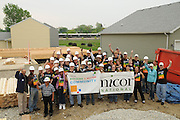 Nicor Inc. employees volunteer with family and friends to assist in a Habitat for Humanity home building project in West Chicago, Illinois on Saturday, May 21st, 2011 during Nicor's 15th Volunteer Day. The company's annual event includes volunteering at outdoor clean ups at local social service agencies, food sorting at area pantries and energy-saving improvements at the homes of senior citizens. For additional information, visit nicor.com or contact Richard Caragol at 630-388-2686.