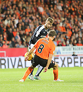 United survive a handball claim as Rory Loy clips the ball against John Rankin's arm - Dundee United v Dundee at Tannadice<br /> - Ladbrokes Premiership<br /> <br />  - &copy; David Young - www.davidyoungphoto.co.uk - email: davidyoungphoto@gmail.com