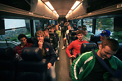 In the bus at Slovenian National team packing and going from Citadel Hotel to the Halifax airport, when they finished with games at IIHF WC 2008 in Halifax, on May 11, 2008, Canada. (Photo by Vid Ponikvar / Sportal Images)