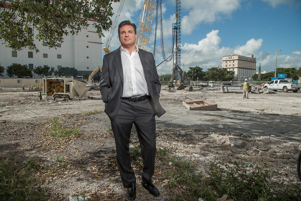 MIAMI,  FLORIDA--- NOVEMBER 3, 2015: <br /> Daniel Kodsi, Developer and CEO of Paramount Miami Worldcenter  stands near equipment and construction workers on the grounds of what will become Paramount Miami Worldcenter in downtown Miami. The 60 story condo tower with 470 residences will sit atop the the Miami Worldcenter Mall. (Photo by Angel Valentin)