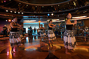 Aboard the Rhapsody of the Seas, on a cruise from Vancouver to Hawaii. Shall We Dance Lounge. Spirit of Polynesia Performance.