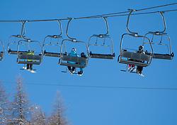 THEMENBILD - Skispass im osttiroler St. Jakob im Defereggen. Abseits des stressigen Massentourismus vieler anderer Skigebiete besticht die Brunnalm vor allem durch seine Überschaubarkeit. Die meisten Hänge sind auch mit Kindern sehr gut befahrbar. Hier im Bild 3er Sessellift Mooserberg. EXPA Pictures © 2012, PhotoCredit: EXPA/ Johann Groder
