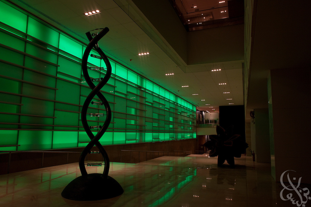 A strand of DNA sculpture is seen inside a building on the campus of the King Abdullah University of Science and Technology (KAUST) is illuminated by night.  KAUST is an international, graduate-level research university dedicated to inspiring a new age of scientific achievement in the Kingdom that will also benefit the region and the world. (Photo by Scott Nelson)..