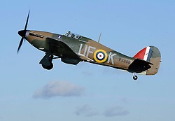 A Hurricane Mark 1 Make An Historic Flight Over The Kent Countryside In Honour Of Remembrance Sunday, Biggin Hill, Kent,  Sunday, 10th November 2013. Picture by i-Images
