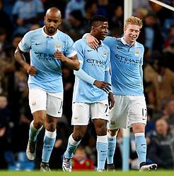 Kevin De Bruyne of Manchester City celebrates after scoring his goal to make it 4-0  - Mandatory byline: Matt McNulty/JMP - 01/12/2015 - Football - Etihad Stadium - Manchester, England - Manchester City v Hull City - Capital One Cup - Quarter-final